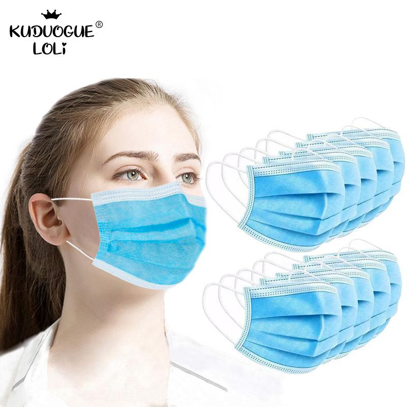 10pcs Disposable Masks Mouth Mask 3-ply Anti-saliva Anti-dust  Safe Nonwoven Elastic Earloop Salon Face Protective Cover Masks