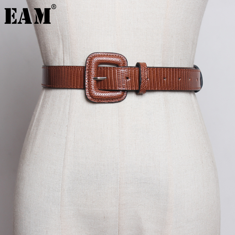 [EAM]  Pu Leather Big Square Buckle Split Joint Long Belt Personality Women New Fashion Tide All-match Spring Autumn 2020 1A779