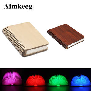 Book-Lamp Desk-Lights Reading Rechargeable Wooden Foldable Magnetic LED USB for Christmas