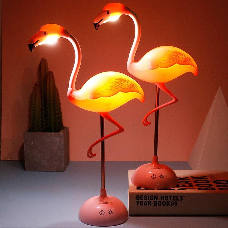 LED Flamingo Night Light Touch Reading Table Lamp For Children USB Charging Living Room Bedroom Decorative Light Lighting