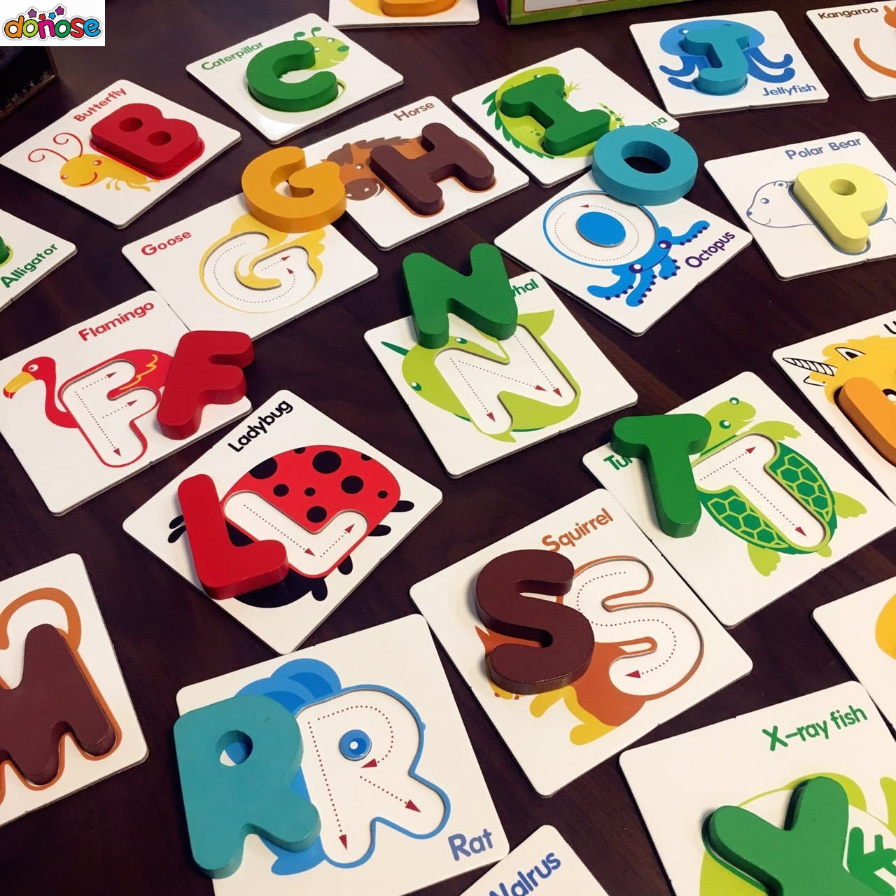 Montessori Kindergarten Learning 26Pcs English Alphabet Letter Cards Match  Puzzles Game Preschool Educational Toys For Children