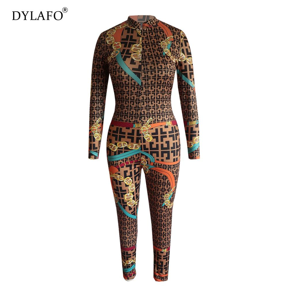 2019 New Sexy Stand Neck Skinny Rompers Zippers Long Sleeve Print Womens Jumpsuit Streetwear Plus Size Ladies Jumpsuits Overalls Pants & Capris Women Bottom ! Plus Size Women's Clothing & Accessories