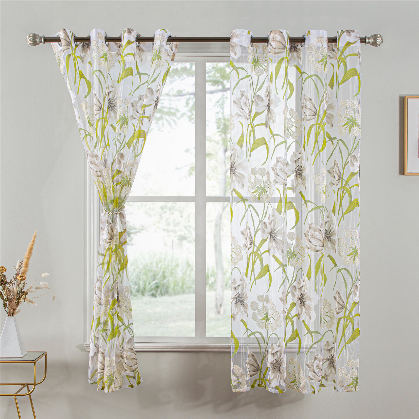 Sheer Curtains Short Tulle Window-Treatment Door-Printed Living-Room Tropical Kitchen