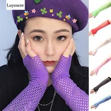 Punk Gloves Lolita-Hole Gothic Mittens Fingerless Thin Women 8-Colors Elbow Cool Nylon