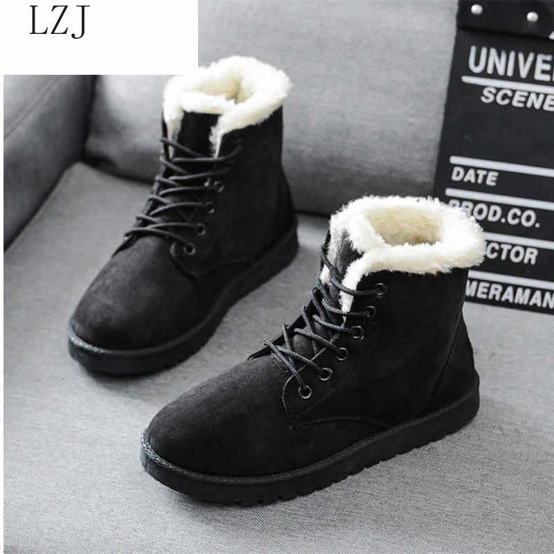 Vrouwen Laarzen 2019 Winter Sneeuw Laarzen Vrouwelijke Laarzen Duantong Warme Kant Plat met Vrouwen Schoenen Tij Botas Mujer F031 Hot koop 35-40