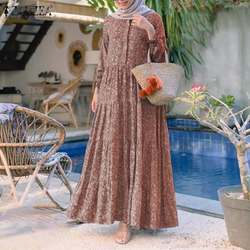 Long Casual Dress Summer ZANZEA Retro Floral Print Muslim Dress Womens Fashion Rayon Long Vestidos Casual Loose Ruffle Dresses
