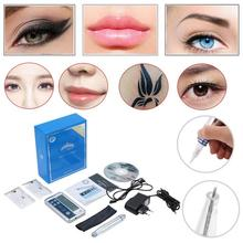Microblading Pen Electric Digital Permanent Rotary Makeup Machine Kits Gun Eyebrow Lip MTS Tattoo + Cartridge Needles
