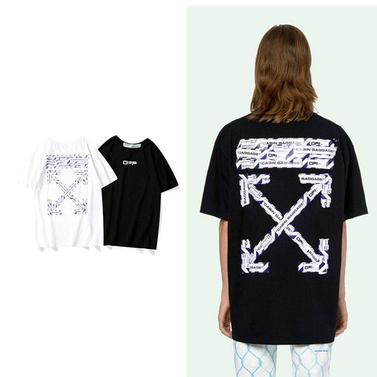 Off White fashion tide brand gradient warning line cotton short-sleeved T-shirt