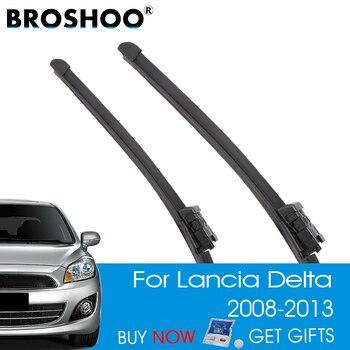BROSHOO Auto escobilla limpiaparabrisas de coche caucho Natural para Lancia Delta ajuste botón brazo 2008, 2009, 2010, 2011, 2012, 2013