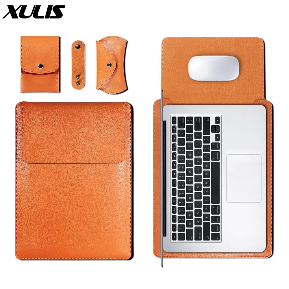 Couro do plutônio luva saco caso para macbook ar pro 11 12 13 15 16 capa a1466 forro manga para macbook ar 13.3 caso 2020 a2179