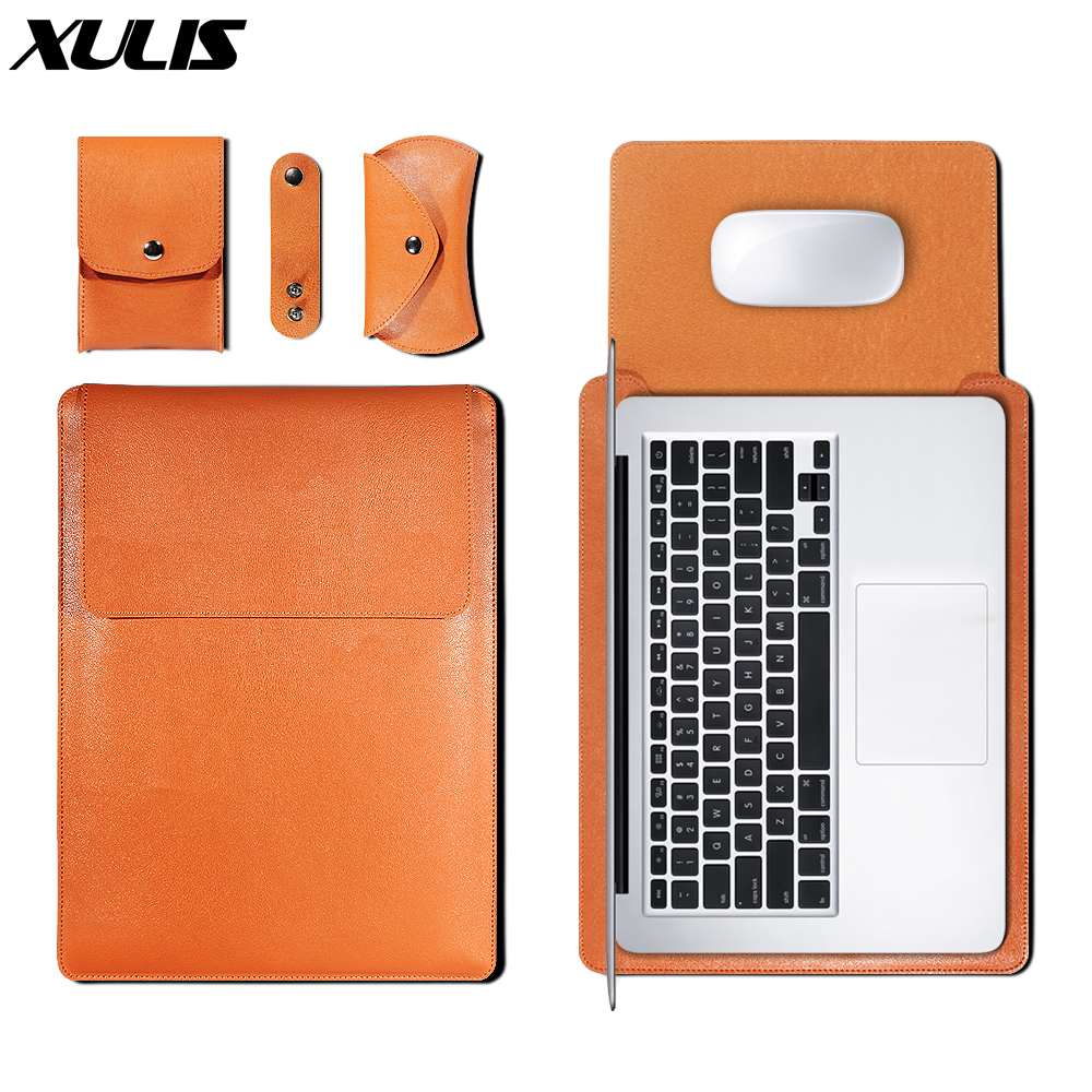 PU Leather Sleeve Bag Case For Macbook Air Pro Retina 11 12 13 15  Cover Liner Sleeve For Macbook Air 13.3 Inch Cover
