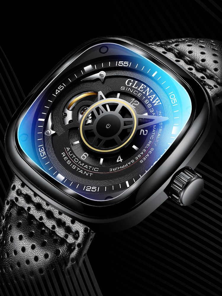 GLENAW 2019 üst marka lüks erkek saati 30m su geçirmez tarih saat kare adam mekanik İzle askeri saatler Relogio