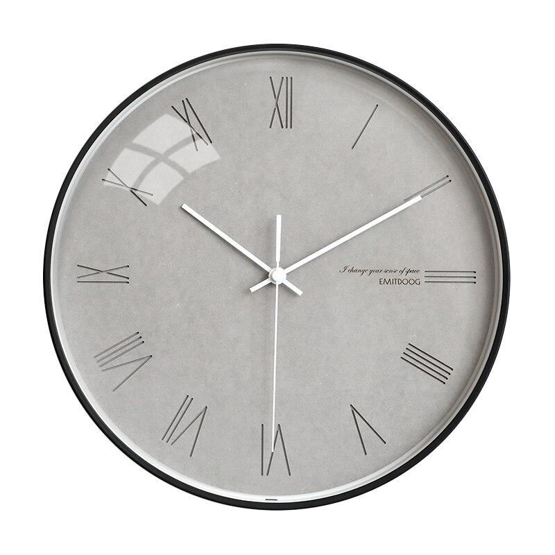 Horloge murale silencieuse bois chiffre romain moderne salon montres mode Orologio Parete nordique minimaliste décoration de la maison AA60WC