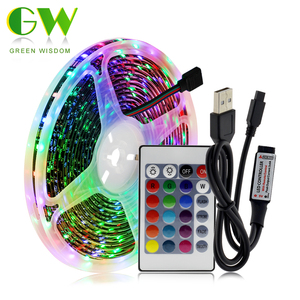 Usb led luz de tira rgb flexível luzes led 2835 smd dc5v fita de fita de diodo rgb 0.5m 1m 2m 3m 4m 5m tv desktop tela backlight