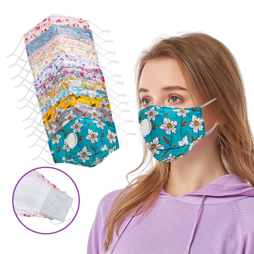 Floral Print Adult Face Mask Adjustable Washable Reusable Breather Three-Dimensional Mouth Mask Cycling Face Mask