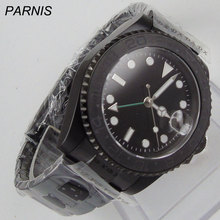 цена new 40mm parnis black dial PVD case GMT white numbers sapphire glass date window Automatic movement Men's business Watch онлайн в 2017 году
