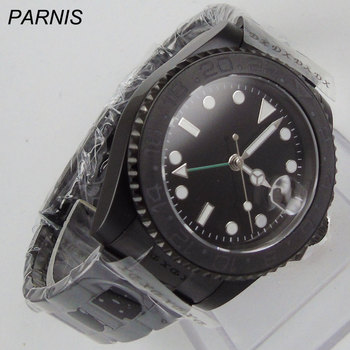 new 40mm parnis black dial PVD case GMT white numbers sapphire glass date window Automatic movement Men's business Watch