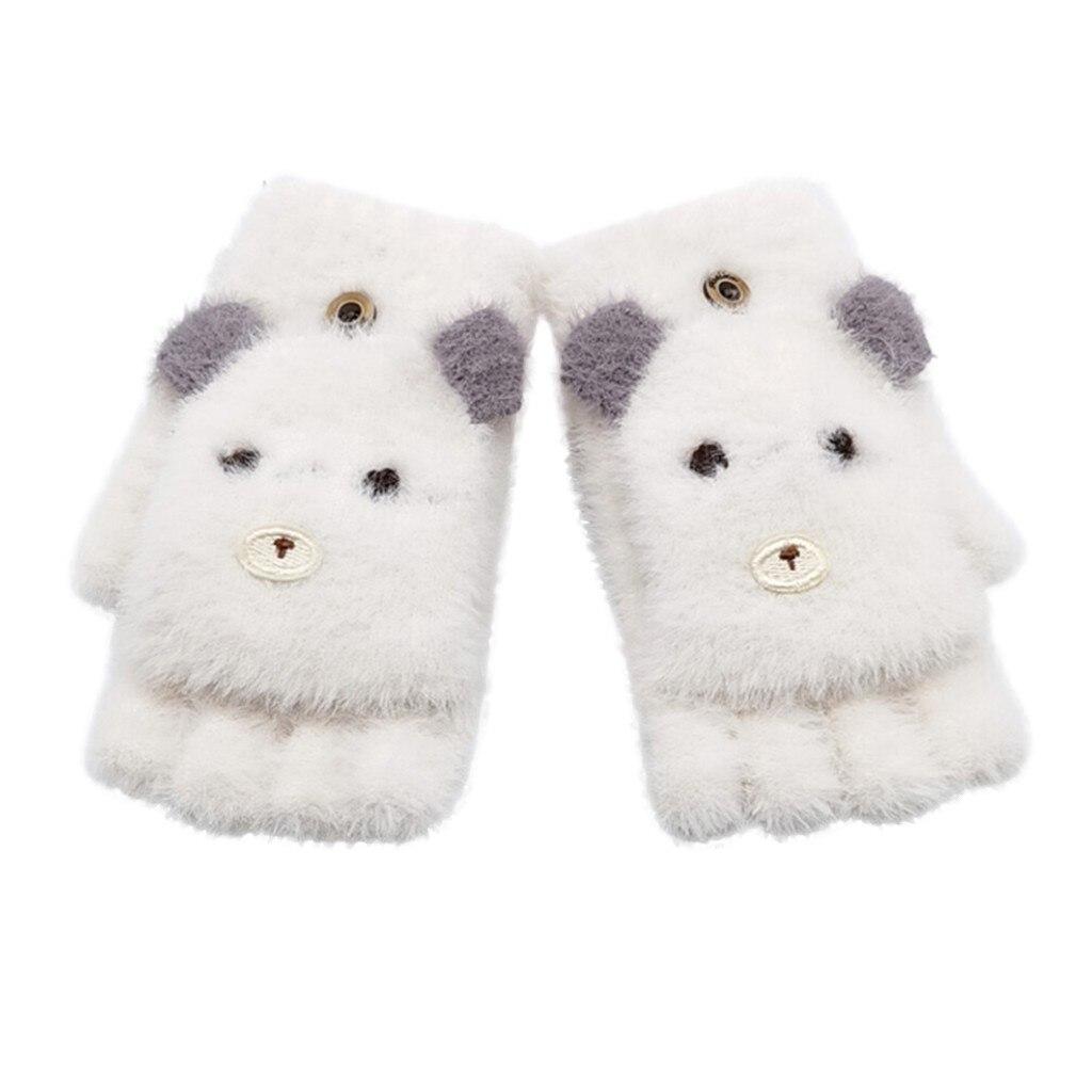 Детские зимние теплые вязаные варежки без пальцев, детские перчатки, детские перчатки для мальчиков и девочек с рисунком - Цвет: Белый