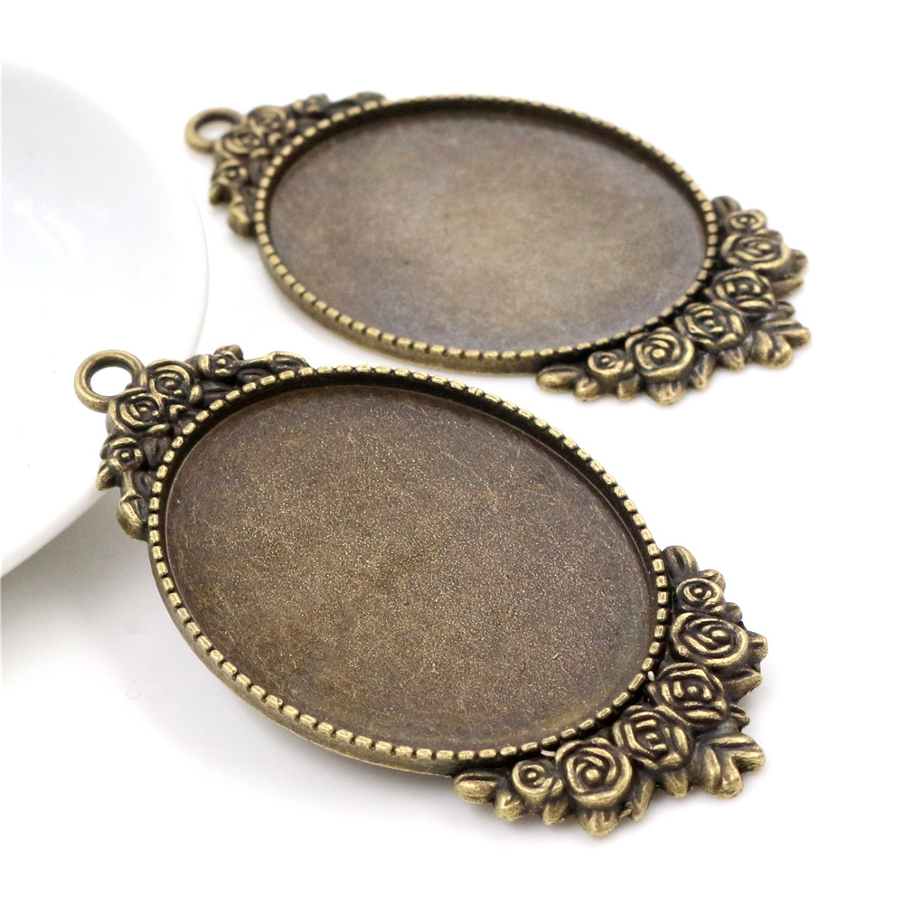 New Fashion 5pcs 30x40mm Inner Size Bronze Color Plated Cabochon Base Setting Charms Pendant (B4-32)
