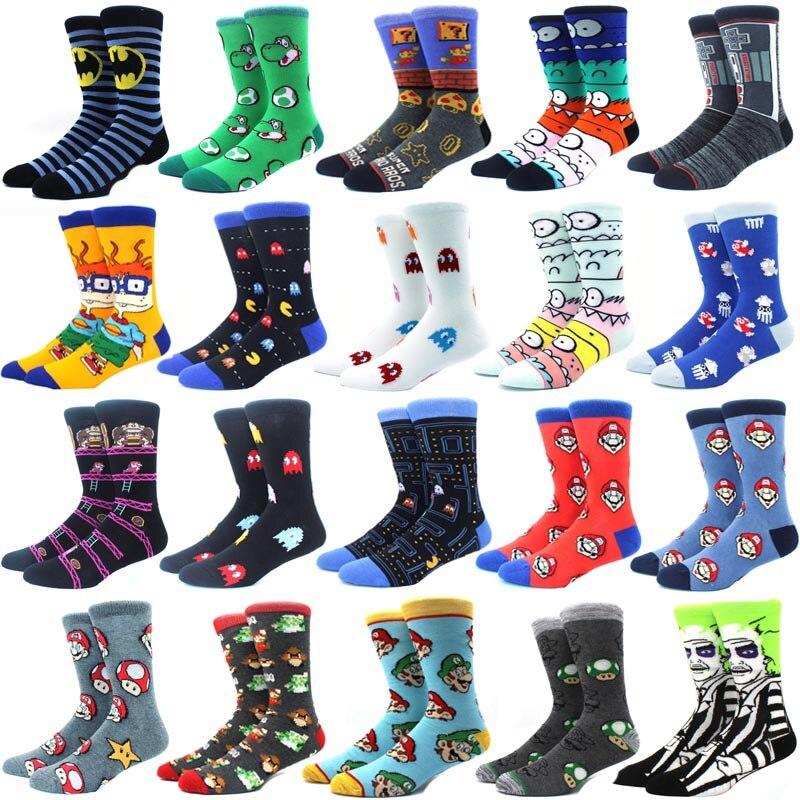 Брендовые хлопковые мужские носки Tide с мультяшным принтом, модные носки из чесаного хлопка с героями мультфильмов и аниме, новинка, забавны...