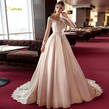 Loverxu Sexy Illusion Long Sleeve Lace A Line Wedding Dresses 2019 Luxury Scoop Neck Appliques Court Train Vintage Bridal Gowns