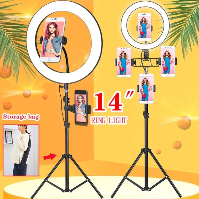 Orsda 10/14 인치 Led 링 라이트 카메라 전화 링 램프 비디오 사진 1.9M 스탠드 삼각대 메이크업 비디오 라이브 스튜디오