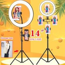 Orsda anillo para teléfono con cámara de Anillo de luz Led de 10/14 pulgadas, lámpara de fotografía y vídeo con soporte de 1,9 M, trípodes para maquillaje y vídeo en vivo