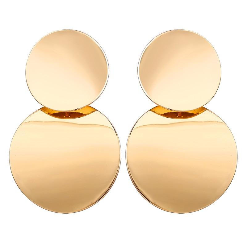 17 км винтажные Золотые круглые металлические серьги-гвоздики с блестками для женщин, модные серьги с полой сеткой, корейские ювелирные изделия, вечерние серьги, подарок - Окраска металла: FCS17951