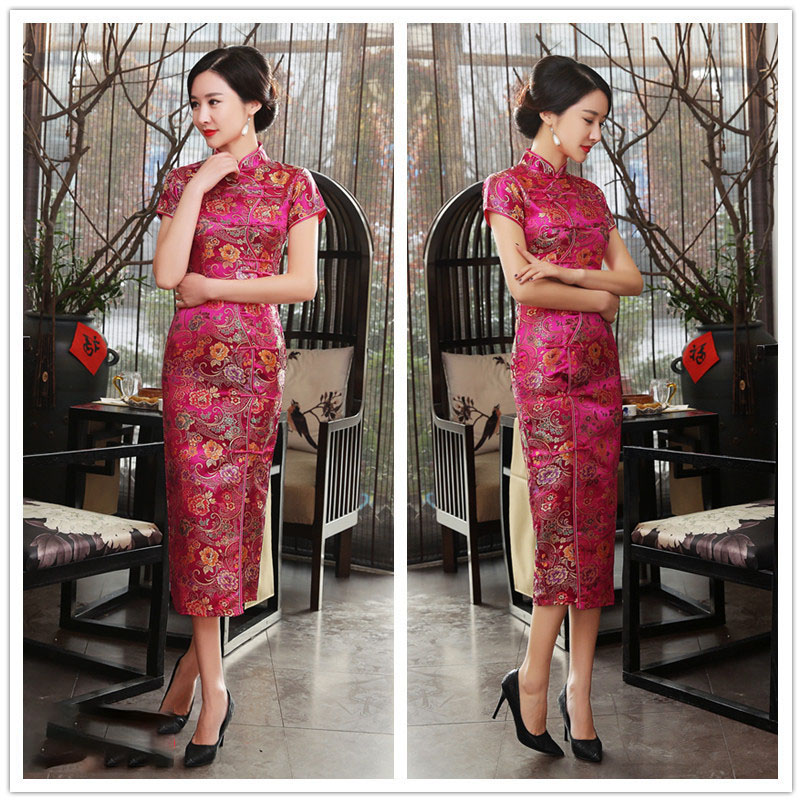 Evening Party Dress For Women Design Vintage Flower Tang Suit Slim Retro Women's Satin Cheongsam Traditional Chinese Dress