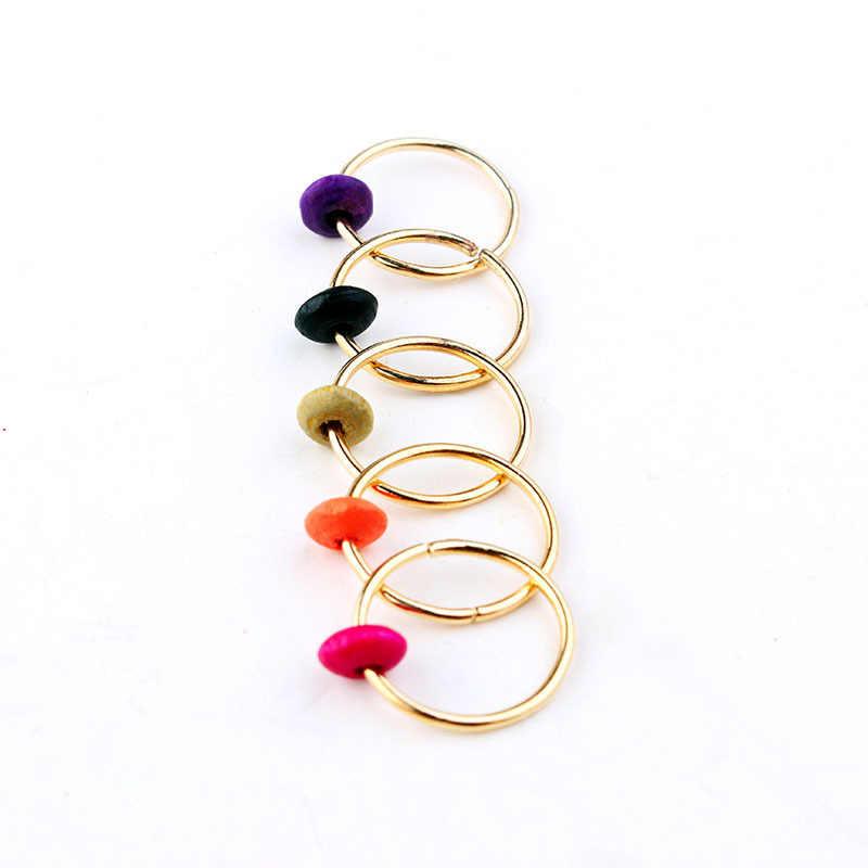 5 unids/set accesorios para el cabello con perlas de madera de pino y piedra Natural, accesorios para el cabello de hip-hop, accesorios para el cabello, herramienta trenzada para el cabello