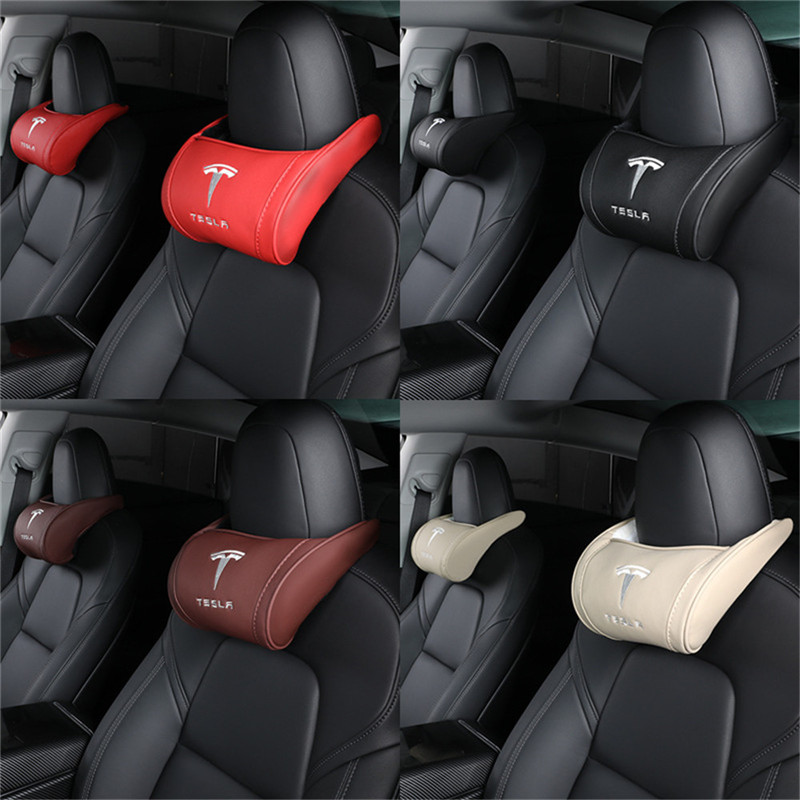cheapest 2X Front Seat Neck Pillows For Tesla Model X Model S Model 3 Model Y Lumbar Protect Cushion Memory Cotton Back Support Pillow