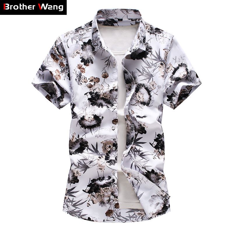 Plus Size 5XL 6XL 7XL Men's Hawaiian Shirt 2020 Summer New Fashion Casual Printing Short Sleeve Flower Shirt Male Brand Clothes