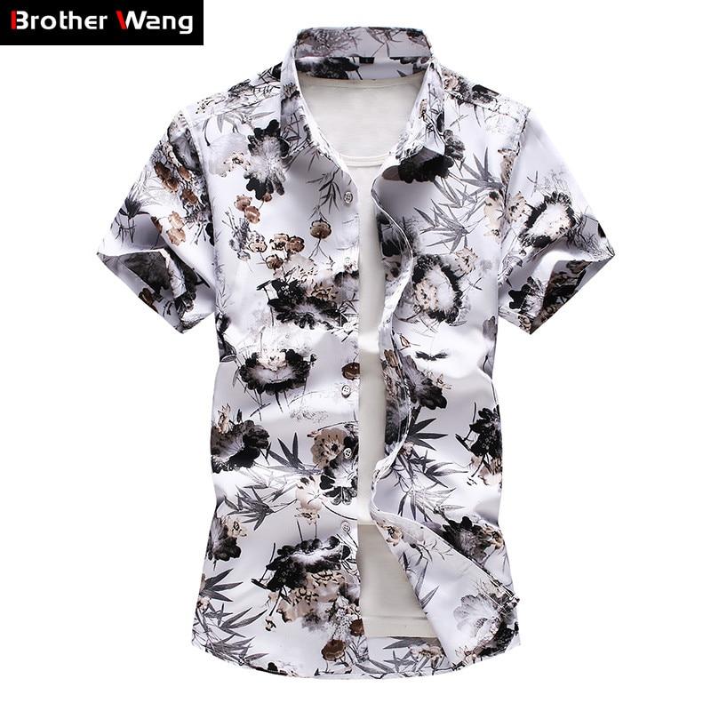 Гавайская Мужская рубашка размера плюс 5XL, 6XL, 7XL, Новинка лета 2020, модная Повседневная рубашка с коротким рукавом и цветочным принтом, Мужска...