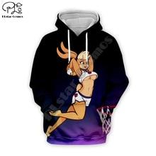 Men Cartoon anime Lola Bunny basketball 3d hoodies Sweatshirt zipper looney tunes print women sexy Pullover couples streetwear