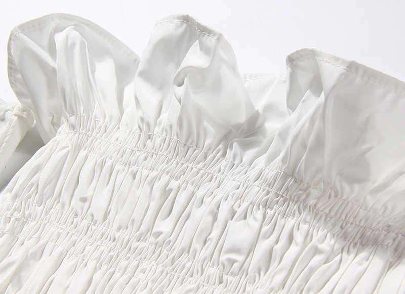 TWOTWINSTYLE אלגנטי נשים חולצה סלאש צוואר שרוולים Patchworj ראפלס טוניקה קצרה נשי אופנה בגדי 2020 גאות
