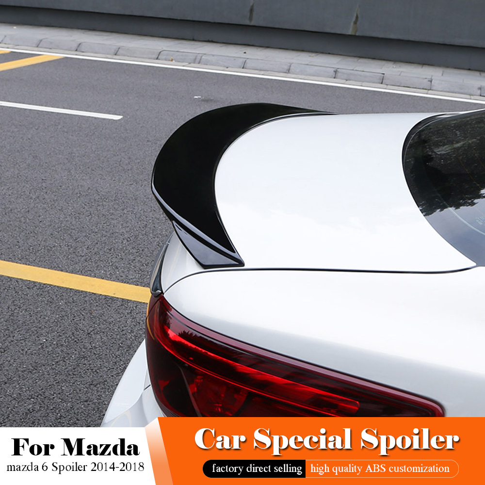 AITWATT Fit For <font><b>Mazda</b></font> <font><b>6</b></font> Atenza <font><b>2014</b></font> to 2018 Carbon Fiber <font><b>Spoiler</b></font> Rear Roof White <font><b>Spoiler</b></font> Wing Trunk Lip Boot Cover Car Styling image