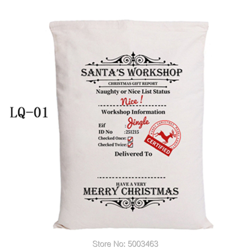 Santa Sacks 1pcs New Arrival Christmas Bag Drawstring Party Canvas Bag Hot Sale Santa Claus Kids Bags Christmas Gift