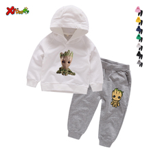Children Clothing Set Baby's Sets 100% Cotton Cartoon Groot Kids Hoodies Boy Outfit Sports Suit Boys Girls Cotton Child Clothes стоимость