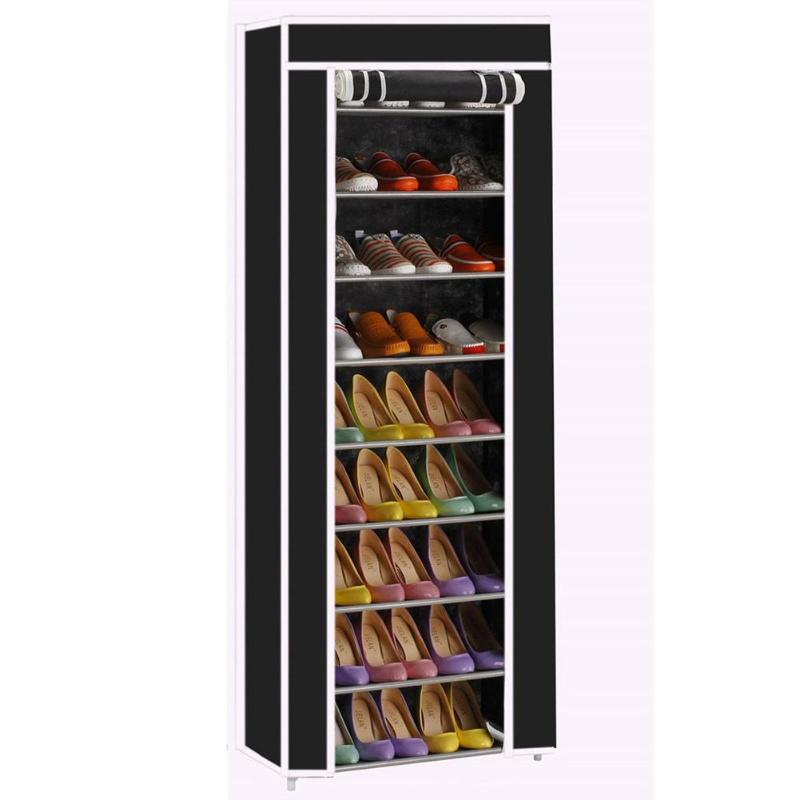 Shelf-Shoes Shoe-Rack Storage-Cabinet 10-Layers 9-Grids Folding Non-Woven-Fabric Dustproof title=