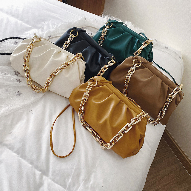Gold Chain Shoulder Bags for Women 2020 Solid Color Luxury Cloud Bag Female Crossbody Messenger Handbags Lady Party Clutch