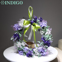 Door Wreaths Diameter 35cm Lavender Romantic Purple Lavender Decorative Silk Flower Wedding Flower Christmas Party Free Shipping