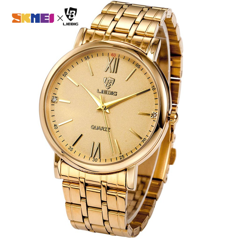 Gold Couple Watch Women's Watches Quartz Fashion Waterproof Full Stainless Steel Wrist Watches Parejas Regalos L1014 Men's Watch