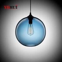 25cm Vintage Industrial Pendant Lights Metal Pendant Ceiling Lamp 7 Color Glass Ball Hanglamp Kitchen Restaurant Lights Fixtures