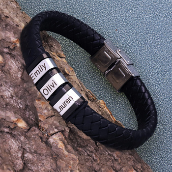 Personalized Mens Genuine Leather Bracelet Stainless Steel Custom Beads Name Charm Jewelry for Men with Family Names