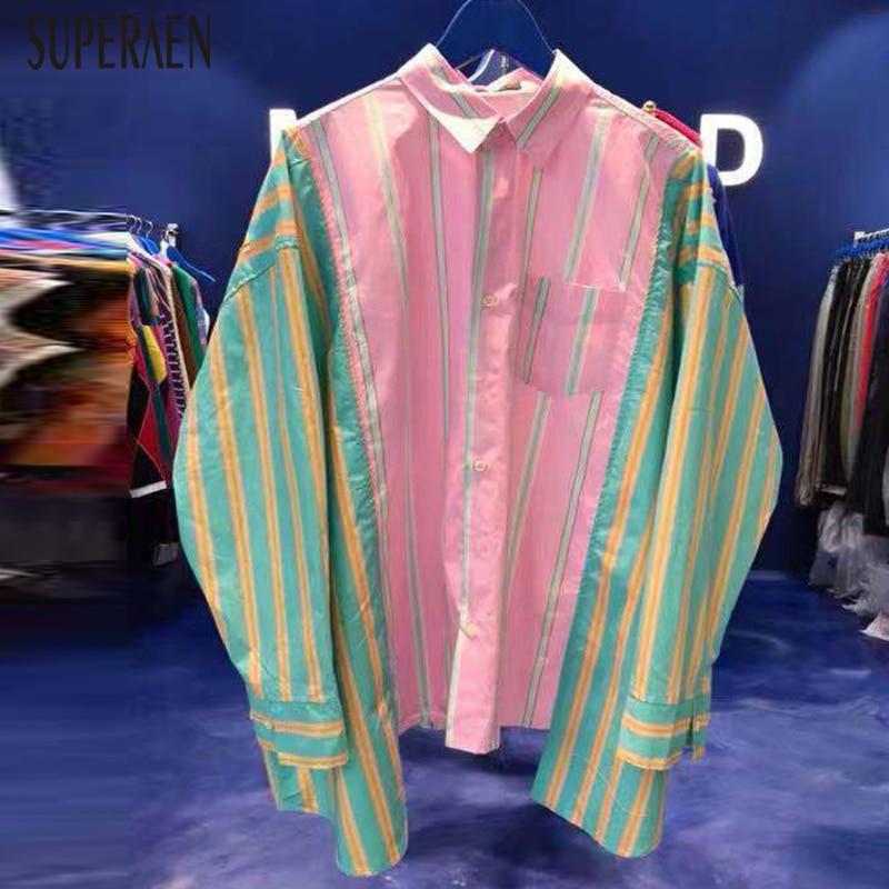 South Korea East Gate Women's Wear Fall 2019 New Colour-Colour-Colour-Coloured Loose-Matched Irregular Stripe Shirt Coat
