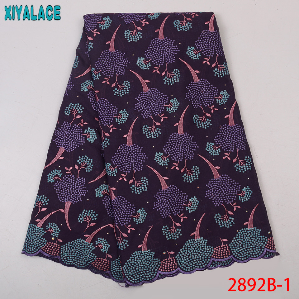 Purple Africa Lace Fabric High Quality Nigerian Lace Nigeria Swiss Voile Lace Embroidery Cotton Fabric For Dresses KS2892B-1