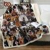 BeddingOutlet 3D pies Koce na łóżko Pet Husky Bulldog Sherpa koc zwierząt brązowy Koce pościel dla dzieci Furry koc 150x200cm