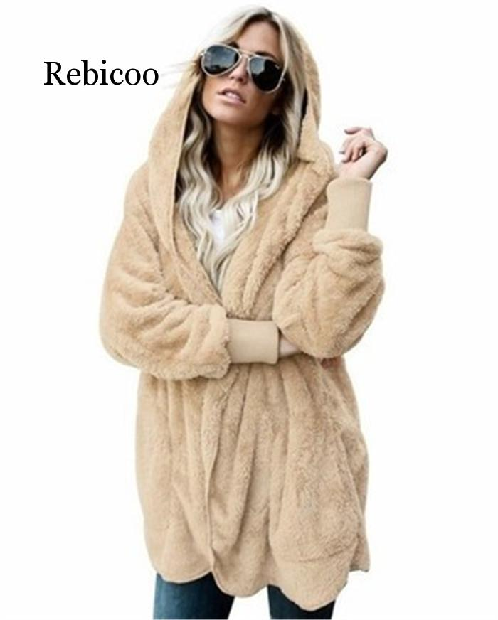 Large size S 5XL artificial fur Teddy bear jacket jacket female fashion open knit winter hooded jacket female long sleeve fuzzy in Jackets from Women 39 s Clothing