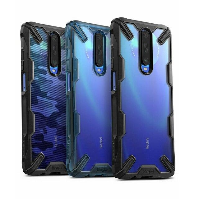 Ringke fusion x para xiaomi poco x2 case transparente pc duro moldura traseira macia tpu para redmi k30 cover