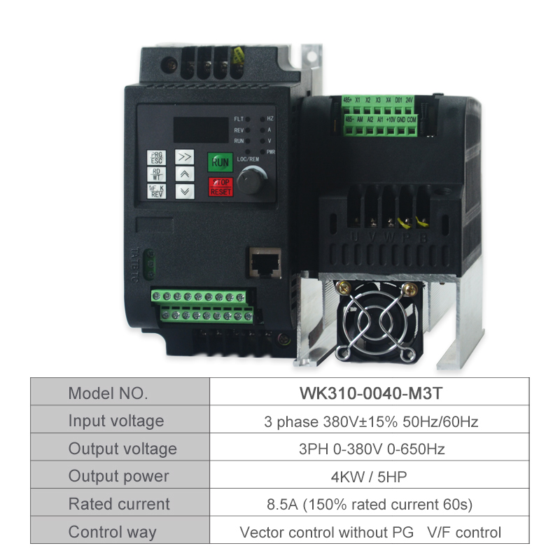 VFD Inverter Freqency Converter 380V 4KW Three Phase MiNi Variable Frequency Inverter VFD Motor Speed PWM Control